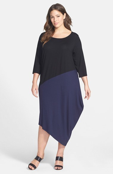 Colorblock Scoop Neck Jersey Dress (Plus Size) - length: calf length; fit: loose; secondary colour: navy; predominant colour: black; occasions: casual, evening, creative work; style: asymmetric (hem); neckline: scoop; fibres: viscose/rayon - stretch; sleeve length: 3/4 length; sleeve style: standard; pattern type: fabric; pattern size: standard; pattern: colourblock; texture group: jersey - stretchy/drapey; season: a/w 2014