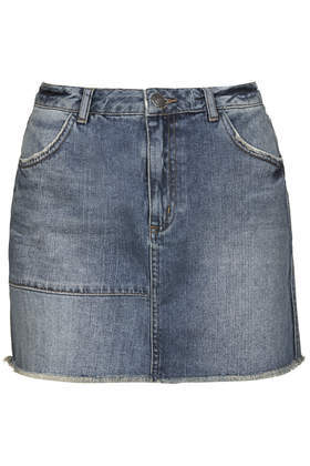 Moto Reclaim To Wear Denim Skirt - length: mini; pattern: plain; waist: mid/regular rise; predominant colour: denim; occasions: casual, creative work; style: mini skirt; fibres: cotton - stretch; texture group: denim; fit: straight cut; pattern type: fabric; season: a/w 2014
