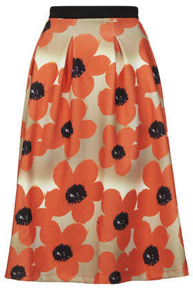 Floral Scuba Midi Skirt - length: below the knee; fit: loose/voluminous; waist: high rise; predominant colour: bright orange; secondary colour: black; occasions: evening, occasion, creative work; style: a-line; fibres: polyester/polyamide - stretch; hip detail: soft pleats at hip/draping at hip/flared at hip; waist detail: narrow waistband; pattern type: fabric; pattern: florals; texture group: other - light to midweight; season: a/w 2014; pattern size: big & busy (bottom)