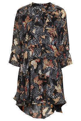 Toile Feather Print Shirt Dress - style: shirt; length: mid thigh; sleeve style: bell sleeve; fit: loose; secondary colour: camel; predominant colour: black; occasions: casual, evening, creative work; fibres: polyester/polyamide - 100%; sleeve length: 3/4 length; texture group: sheer fabrics/chiffon/organza etc.; pattern type: fabric; pattern size: big & busy; pattern: patterned/print; season: a/w 2014
