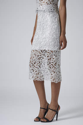 Limited Edition Silver Cornelli Pencil Skirt - length: calf length; style: pencil; fit: body skimming; waist: mid/regular rise; predominant colour: silver; occasions: evening, occasion; fibres: polyester/polyamide - mix; pattern type: knitted - other; pattern: patterned/print; texture group: other - light to midweight; season: a/w 2014; pattern size: standard (bottom)