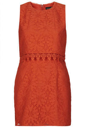 Petite Crop Overlay Lace Dress - style: shift; length: mini; fit: tailored/fitted; sleeve style: sleeveless; predominant colour: bright orange; occasions: evening; fibres: polyester/polyamide - 100%; neckline: crew; sleeve length: sleeveless; texture group: lace; pattern type: fabric; pattern: patterned/print; trends: zesty shades; season: a/w 2014