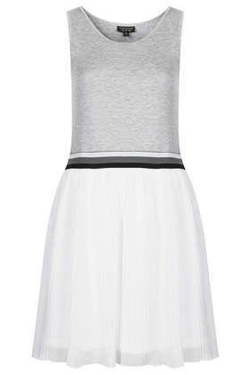 Sports Pleated Mini Dress - length: mid thigh; neckline: round neck; sleeve style: sleeveless; secondary colour: white; predominant colour: light grey; occasions: casual, holiday, activity; fit: fitted at waist & bust; style: fit & flare; fibres: cotton - 100%; hip detail: contrast fabric/print detail at hip; waist detail: narrow waistband; sleeve length: sleeveless; pattern type: fabric; pattern size: light/subtle; pattern: colourblock; texture group: jersey - stretchy/drapey; season: a/w 2014