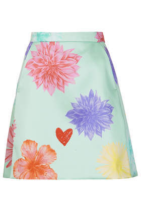 Limited Edition Floral Heart A Line Skirt - length: mid thigh; fit: loose/voluminous; waist: mid/regular rise; secondary colour: pistachio; occasions: evening, creative work; style: a-line; fibres: polyester/polyamide - stretch; waist detail: narrow waistband; predominant colour: multicoloured; texture group: cotton feel fabrics; pattern type: fabric; pattern: florals; trends: zesty shades; season: a/w 2014; pattern size: big & busy (bottom); multicoloured: multicoloured