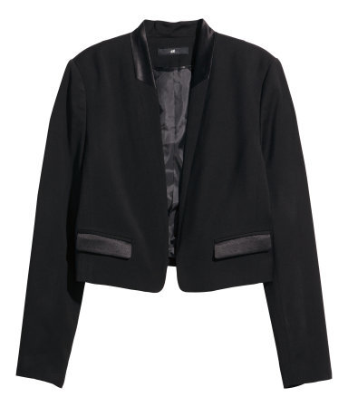 Short Jacket - pattern: plain; style: single breasted blazer; collar: round collar/collarless; predominant colour: black; occasions: evening, creative work; fit: tailored/fitted; fibres: polyester/polyamide - stretch; sleeve length: long sleeve; sleeve style: standard; collar break: low/open; pattern type: fabric; texture group: woven light midweight; season: a/w 2014; length: cropped