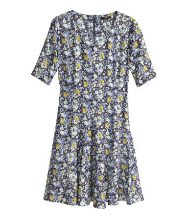 Patterned Dress - length: mid thigh; neckline: round neck; occasions: casual, creative work; fit: fitted at waist & bust; style: fit & flare; fibres: viscose/rayon - 100%; hip detail: subtle/flattering hip detail; predominant colour: multicoloured; sleeve length: half sleeve; sleeve style: standard; pattern type: fabric; pattern size: big & busy; pattern: florals; texture group: other - light to midweight; season: a/w 2014; multicoloured: multicoloured
