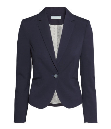 Figure Fit Jacket - pattern: plain; style: single breasted blazer; collar: standard lapel/rever collar; predominant colour: navy; occasions: work, creative work; length: standard; fit: tailored/fitted; fibres: polyester/polyamide - stretch; sleeve length: long sleeve; sleeve style: standard; collar break: medium; pattern type: fabric; texture group: woven light midweight; season: a/w 2014