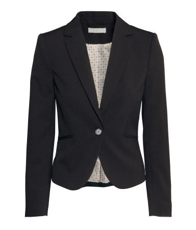 Figure Fit Jacket - pattern: plain; style: single breasted blazer; collar: standard lapel/rever collar; predominant colour: black; occasions: work, creative work; length: standard; fit: tailored/fitted; fibres: polyester/polyamide - stretch; sleeve length: long sleeve; sleeve style: standard; collar break: medium; pattern type: fabric; texture group: woven light midweight; season: a/w 2014