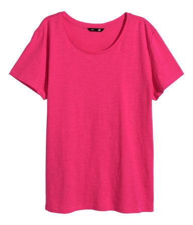 T Shirt In Slub Jersey - neckline: round neck; pattern: plain; style: t-shirt; predominant colour: hot pink; occasions: casual; length: standard; fibres: cotton - 100%; fit: body skimming; sleeve length: short sleeve; sleeve style: standard; pattern type: fabric; texture group: jersey - stretchy/drapey; trends: zesty shades; season: a/w 2014
