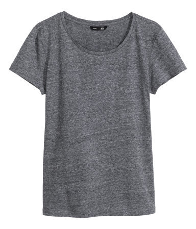 T Shirt In Slub Jersey - neckline: round neck; pattern: plain; style: t-shirt; predominant colour: charcoal; occasions: casual; length: standard; fibres: cotton - 100%; fit: body skimming; sleeve length: short sleeve; sleeve style: standard; pattern type: fabric; texture group: jersey - stretchy/drapey; season: a/w 2014