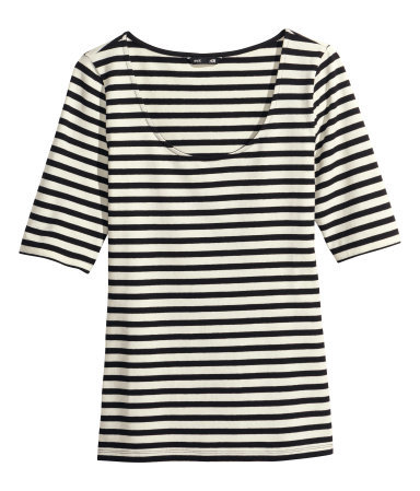 Jersey Top - pattern: horizontal stripes; secondary colour: ivory/cream; predominant colour: black; occasions: casual, creative work; length: standard; style: top; neckline: scoop; fibres: cotton - stretch; fit: tight; sleeve length: half sleeve; sleeve style: standard; texture group: jersey - clingy; pattern type: fabric; pattern size: standard; season: a/w 2014