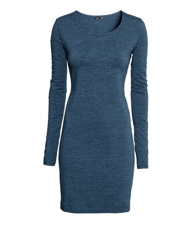 Short Jersey Dress - length: mid thigh; neckline: round neck; fit: tight; style: bodycon; predominant colour: denim; occasions: evening, creative work; fibres: cotton - stretch; sleeve length: long sleeve; sleeve style: standard; texture group: jersey - clingy; pattern type: fabric; pattern size: light/subtle; pattern: marl; season: a/w 2014