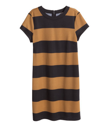 Short Sleeved Jersey Dress - style: shift; pattern: horizontal stripes; secondary colour: camel; predominant colour: black; occasions: casual, creative work; length: just above the knee; fit: straight cut; fibres: polyester/polyamide - stretch; neckline: crew; sleeve length: short sleeve; sleeve style: standard; pattern type: fabric; pattern size: big & busy; texture group: jersey - stretchy/drapey; season: a/w 2014