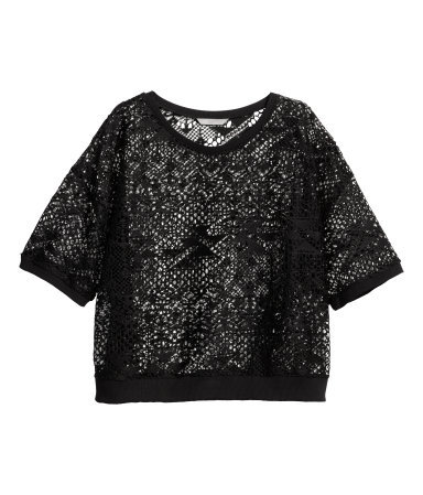 + Lace Top - neckline: round neck; pattern: plain; length: cropped; predominant colour: black; occasions: casual, evening, creative work; style: top; fibres: polyester/polyamide - 100%; fit: body skimming; sleeve length: half sleeve; sleeve style: standard; pattern type: fabric; texture group: other - light to midweight; embellishment: lace; season: a/w 2014