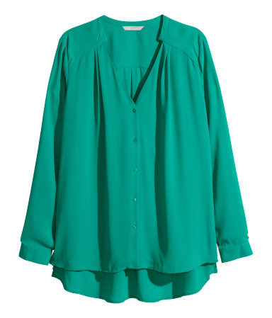+ V Neck Blouse - neckline: v-neck; pattern: plain; style: blouse; predominant colour: mint green; occasions: work, creative work; length: standard; fibres: polyester/polyamide - 100%; fit: loose; back detail: longer hem at back than at front; sleeve length: long sleeve; sleeve style: standard; texture group: sheer fabrics/chiffon/organza etc.; pattern type: fabric; trends: zesty shades; season: a/w 2014