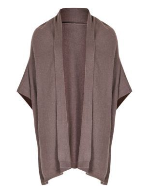 Pure Cashmere Shawl Collar Wrap - pattern: plain; neckline: shawl; length: below the bottom; style: open front; predominant colour: taupe; occasions: casual, creative work; fit: loose; back detail: shorter hem at back than at front; fibres: cashmere - 100%; sleeve length: 3/4 length; texture group: knits/crochet; pattern type: knitted - fine stitch; sleeve style: cape/poncho sleeve; trends: minimal sleek, simple lux; season: a/w 2014