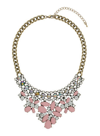 Pink Stone Necklace - secondary colour: nude; predominant colour: silver; occasions: evening, occasion, creative work; length: mid; size: large/oversized; material: chain/metal; finish: metallic; embellishment: jewels/stone; style: bib/statement; season: a/w 2014