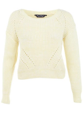 Yellow Boucle Jumper - neckline: round neck; pattern: plain; length: cropped; style: standard; predominant colour: primrose yellow; occasions: casual, creative work; fibres: nylon - 100%; fit: slim fit; sleeve length: long sleeve; sleeve style: standard; texture group: knits/crochet; pattern type: knitted - other; season: a/w 2014