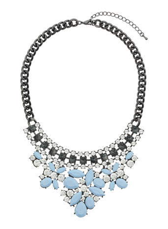 Blue Stone Necklace - secondary colour: pale blue; predominant colour: black; occasions: evening, occasion, creative work; length: mid; size: large/oversized; material: chain/metal; finish: metallic; embellishment: jewels/stone; style: bib/statement; season: a/w 2014