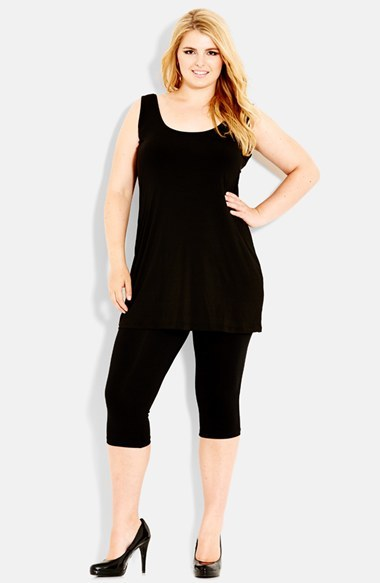 Super Longline Scoop Neck Tank (Plus Size) - pattern: plain; sleeve style: sleeveless; length: below the bottom; back detail: low cut/open back; predominant colour: black; occasions: casual, evening, creative work, activity; style: top; neckline: scoop; fibres: polyester/polyamide - stretch; fit: body skimming; sleeve length: sleeveless; pattern type: fabric; texture group: jersey - stretchy/drapey; season: a/w 2014