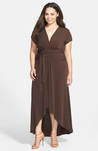 High/Low Faux Wrap Maxi Dress (Plus Size) - style: faux wrap/wrap; neckline: low v-neck; pattern: plain; length: ankle length; waist detail: belted waist/tie at waist/drawstring; predominant colour: chocolate brown; occasions: evening, occasion; fit: body skimming; fibres: polyester/polyamide - stretch; hip detail: subtle/flattering hip detail; sleeve length: short sleeve; sleeve style: standard; pattern type: fabric; texture group: jersey - stretchy/drapey; season: a/w 2014