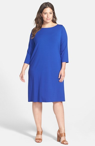 Ballet Neck Jersey Shift Dress (Plus Size) - style: tunic; neckline: slash/boat neckline; pattern: plain; predominant colour: royal blue; occasions: casual, evening; length: on the knee; fit: soft a-line; fibres: viscose/rayon - stretch; sleeve length: 3/4 length; sleeve style: standard; pattern type: fabric; texture group: jersey - stretchy/drapey; season: a/w 2014