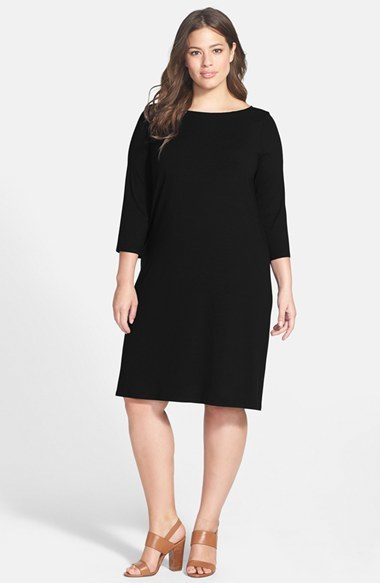 Ballet Neck Jersey Shift Dress (Plus Size) - style: tunic; neckline: slash/boat neckline; fit: loose; pattern: plain; back detail: back revealing; predominant colour: black; occasions: casual, evening, creative work; length: on the knee; fibres: viscose/rayon - stretch; sleeve length: 3/4 length; sleeve style: standard; pattern type: fabric; texture group: jersey - stretchy/drapey; season: a/w 2014