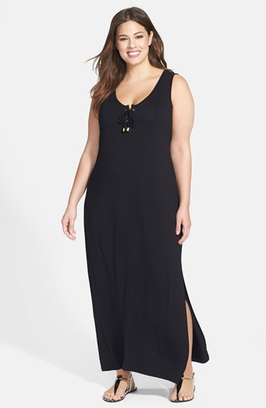 Lace Up Maxi Dress (Plus Size) - pattern: plain; sleeve style: sleeveless; style: maxi dress; length: ankle length; bust detail: added detail/embellishment at bust; predominant colour: black; occasions: casual, evening, holiday; fit: body skimming; neckline: scoop; fibres: viscose/rayon - stretch; sleeve length: sleeveless; pattern type: fabric; texture group: jersey - stretchy/drapey; season: a/w 2014