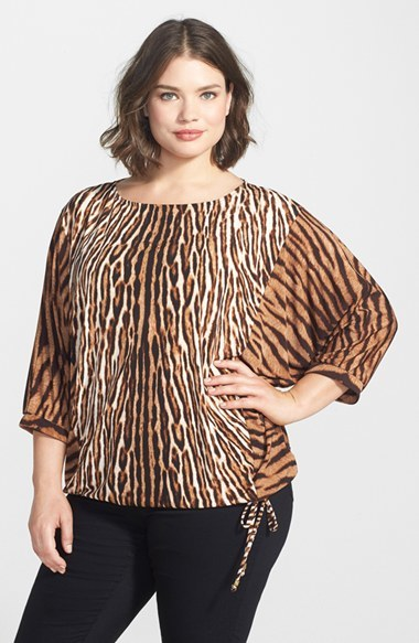 'mowani' Print Jersey Batwing Top (Plus Size) - neckline: round neck; sleeve style: dolman/batwing; predominant colour: chocolate brown; secondary colour: camel; occasions: casual, evening, work; length: standard; style: top; fibres: polyester/polyamide - stretch; fit: loose; sleeve length: 3/4 length; hip detail: ruffles/tiers/tie detail at hip; pattern type: fabric; pattern size: standard; pattern: animal print; texture group: jersey - stretchy/drapey; trends: zesty shades; season: a/w 2014