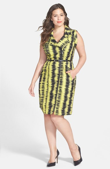 'feel The Beat' Zip Front Dress (Plus Size) - style: shift; sleeve style: capped; fit: tailored/fitted; neckline: asymmetric; waist detail: belted waist/tie at waist/drawstring; secondary colour: primrose yellow; predominant colour: black; length: on the knee; fibres: polyester/polyamide - mix; sleeve length: sleeveless; pattern type: fabric; pattern size: big & busy; pattern: patterned/print; texture group: woven light midweight; occasions: creative work; season: a/w 2014