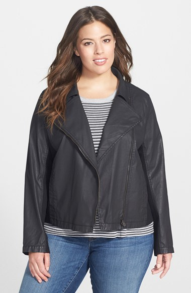 Waxed Twill Moto Jacket (Plus Size) - pattern: plain; style: biker; collar: asymmetric biker; predominant colour: black; occasions: casual, evening, creative work; length: standard; fit: straight cut (boxy); fibres: cotton - mix; sleeve length: long sleeve; sleeve style: standard; texture group: waxed cotton; collar break: medium; pattern type: fabric; season: a/w 2014