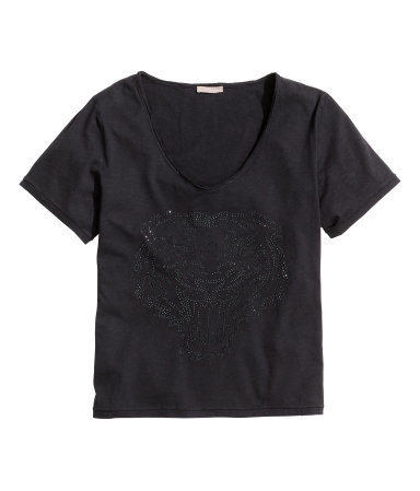 + T Shirt With Studs - neckline: low v-neck; pattern: plain; style: t-shirt; predominant colour: black; occasions: casual; length: standard; fibres: cotton - 100%; fit: straight cut; sleeve length: short sleeve; sleeve style: standard; pattern type: fabric; texture group: jersey - stretchy/drapey; embellishment: studs; season: a/w 2014; embellishment location: bust