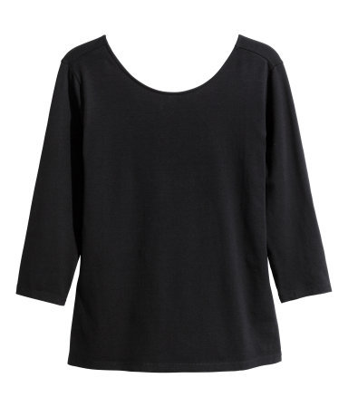 + Jersey Top - neckline: round neck; pattern: plain; back detail: back revealing; predominant colour: black; occasions: casual, creative work; length: standard; style: top; fibres: cotton - stretch; fit: body skimming; sleeve length: 3/4 length; sleeve style: standard; pattern type: fabric; texture group: jersey - stretchy/drapey; season: a/w 2014