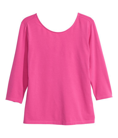 + Jersey Top - neckline: round neck; pattern: plain; back detail: low cut/open back; predominant colour: hot pink; occasions: casual, creative work; length: standard; style: top; fibres: cotton - stretch; fit: body skimming; sleeve length: 3/4 length; sleeve style: standard; pattern type: fabric; texture group: jersey - stretchy/drapey; trends: zesty shades; season: a/w 2014