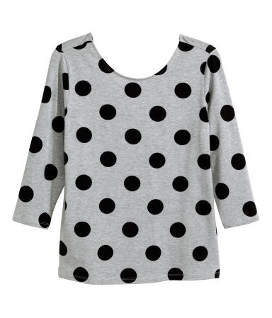 + Jersey Top - neckline: round neck; pattern: polka dot; predominant colour: light grey; secondary colour: black; occasions: casual; length: standard; style: top; fibres: cotton - stretch; fit: body skimming; sleeve length: 3/4 length; sleeve style: standard; pattern type: fabric; texture group: jersey - stretchy/drapey; season: a/w 2014