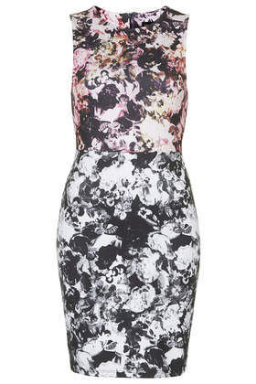 Photo Floral Print Bodycon Dress - length: mid thigh; fit: tight; sleeve style: sleeveless; style: bodycon; back detail: contrast pattern/fabric at back; secondary colour: light grey; predominant colour: black; occasions: evening, occasion; fibres: cotton - 100%; neckline: crew; sleeve length: sleeveless; texture group: jersey - clingy; pattern type: fabric; pattern size: big & busy; pattern: florals; trends: optic prints; season: a/w 2014