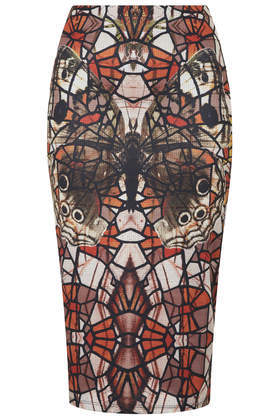 Mirror Butterfly Tube Skirt - style: pencil; fit: tight; waist: high rise; occasions: casual, evening, creative work; length: on the knee; fibres: polyester/polyamide - stretch; predominant colour: multicoloured; texture group: jersey - clingy; pattern type: fabric; pattern: patterned/print; trends: optic prints; season: a/w 2014; pattern size: big & busy (bottom); multicoloured: multicoloured