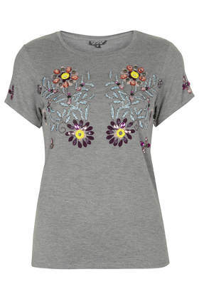 Embellished Flower Tee - neckline: round neck; style: t-shirt; secondary colour: yellow; predominant colour: mid grey; occasions: casual, creative work; length: standard; fibres: viscose/rayon - stretch; fit: body skimming; sleeve length: short sleeve; sleeve style: standard; pattern type: fabric; pattern: patterned/print; texture group: jersey - stretchy/drapey; embellishment: jewels/stone; season: a/w 2014; pattern size: big & busy (top); wardrobe: highlight; embellishment location: bust