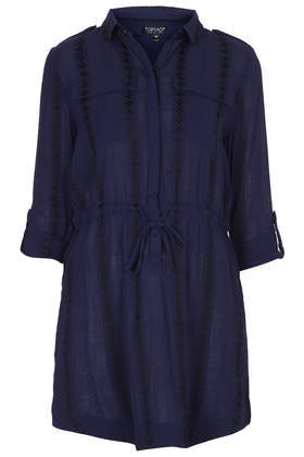 Embroidered Shirt Dress - style: shirt; length: mid thigh; neckline: shirt collar/peter pan/zip with opening; pattern: plain; waist detail: belted waist/tie at waist/drawstring; predominant colour: navy; occasions: casual, creative work; fit: straight cut; fibres: cotton - mix; shoulder detail: subtle shoulder detail; sleeve length: 3/4 length; sleeve style: standard; texture group: cotton feel fabrics; pattern type: fabric; embellishment: embroidered; season: a/w 2014; wardrobe: highlight; embellishment location: top