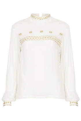 Gold Embroidered Detail Blouse - pattern: plain; neckline: high neck; sleeve style: balloon; style: blouse; predominant colour: ivory/cream; secondary colour: gold; occasions: work, creative work; length: standard; fibres: polyester/polyamide - 100%; fit: body skimming; back detail: embellishment at back; sleeve length: long sleeve; texture group: sheer fabrics/chiffon/organza etc.; pattern type: fabric; embellishment: embroidered; season: a/w 2014