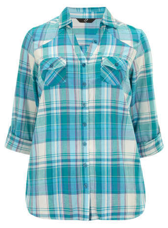 Teal Check Shirt - neckline: shirt collar/peter pan/zip with opening; pattern: checked/gingham; style: shirt; predominant colour: turquoise; occasions: casual, creative work; length: standard; fibres: cotton - 100%; fit: straight cut; sleeve length: 3/4 length; sleeve style: standard; texture group: cotton feel fabrics; pattern type: fabric; pattern size: standard; season: a/w 2014