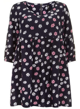Navy Floral Tunic - neckline: v-neck; length: below the bottom; style: smock; secondary colour: pink; predominant colour: navy; occasions: casual; fibres: viscose/rayon - 100%; fit: loose; sleeve length: 3/4 length; sleeve style: standard; pattern type: fabric; pattern size: standard; pattern: florals; texture group: jersey - stretchy/drapey; season: a/w 2014