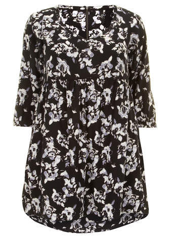 Black Rose Print Tunic - neckline: round neck; style: tunic; secondary colour: light grey; predominant colour: black; occasions: casual, creative work; fibres: viscose/rayon - 100%; fit: straight cut; length: mid thigh; sleeve length: 3/4 length; sleeve style: standard; pattern type: fabric; pattern size: standard; pattern: florals; texture group: other - light to midweight; season: a/w 2014
