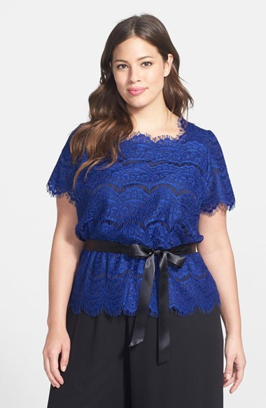 Belted Lace Blouse (Plus Size) - waist detail: belted waist/tie at waist/drawstring; predominant colour: royal blue; occasions: evening, work, occasion; length: standard; style: top; fibres: polyester/polyamide - 100%; fit: loose; sleeve length: short sleeve; sleeve style: standard; texture group: lace; neckline: medium square neck; pattern type: fabric; pattern: patterned/print; season: a/w 2014