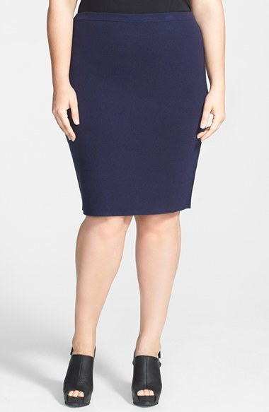 Silk Blend Knit Straight Skirt (Plus Size) - pattern: plain; style: pencil; fit: body skimming; waist detail: elasticated waist; waist: mid/regular rise; predominant colour: navy; occasions: evening, work, creative work; length: on the knee; fibres: silk - mix; pattern type: fabric; texture group: woven light midweight; season: a/w 2014