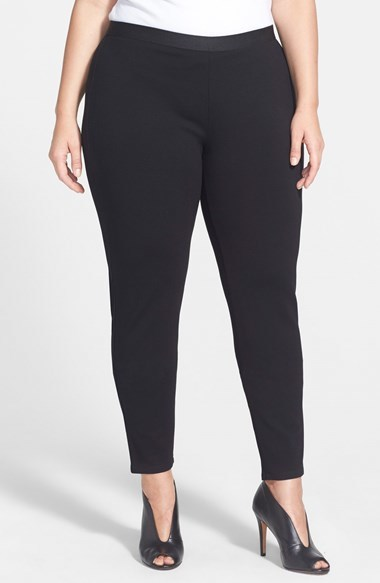 Stretch Ponte Leggings (Plus Size) - pattern: plain; style: leggings; waist: mid/regular rise; predominant colour: black; occasions: casual, evening, creative work; length: ankle length; fibres: viscose/rayon - stretch; texture group: jersey - clingy; fit: skinny/tight leg; pattern type: fabric; season: a/w 2014
