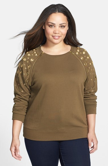 Grommet Detail Sweatshirt (Plus Size) - neckline: round neck; sleeve style: raglan; pattern: plain; length: below the bottom; style: sweat top; predominant colour: khaki; occasions: casual; fibres: cotton - mix; fit: loose; sleeve length: long sleeve; pattern type: fabric; texture group: jersey - stretchy/drapey; embellishment: chain/metal; season: a/w 2014; wardrobe: highlight; embellishment location: shoulder