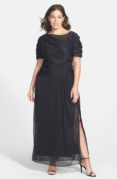 Glitter Mesh Short Sleeve Gown (Plus Size) - neckline: slash/boat neckline; pattern: plain; style: maxi dress; length: ankle length; waist detail: flattering waist detail; bust detail: subtle bust detail; predominant colour: black; occasions: evening, occasion; fit: body skimming; fibres: polyester/polyamide - 100%; hip detail: subtle/flattering hip detail; sleeve length: short sleeve; sleeve style: standard; texture group: sheer fabrics/chiffon/organza etc.; pattern type: fabric; embellishment: glitter; season: a/w 2014; wardrobe: event; embellishment location: all over