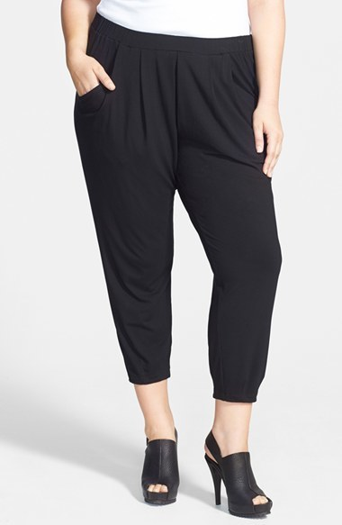 Slouchy Ankle Pants (Plus Size) - pattern: plain; style: harem/slouch; waist: mid/regular rise; predominant colour: black; occasions: casual, evening, creative work; length: calf length; fibres: viscose/rayon - stretch; hip detail: draped at hip/ruched; fit: tapered; pattern type: fabric; texture group: jersey - stretchy/drapey; season: a/w 2014