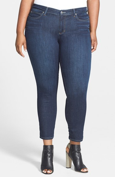 Slim Ankle Jeans (Plus Size) - pattern: plain; pocket detail: traditional 5 pocket; style: slim leg; waist: mid/regular rise; predominant colour: denim; occasions: casual, evening, creative work; length: ankle length; fibres: cotton - mix; jeans detail: whiskering, dark wash; texture group: denim; pattern type: fabric; season: a/w 2014